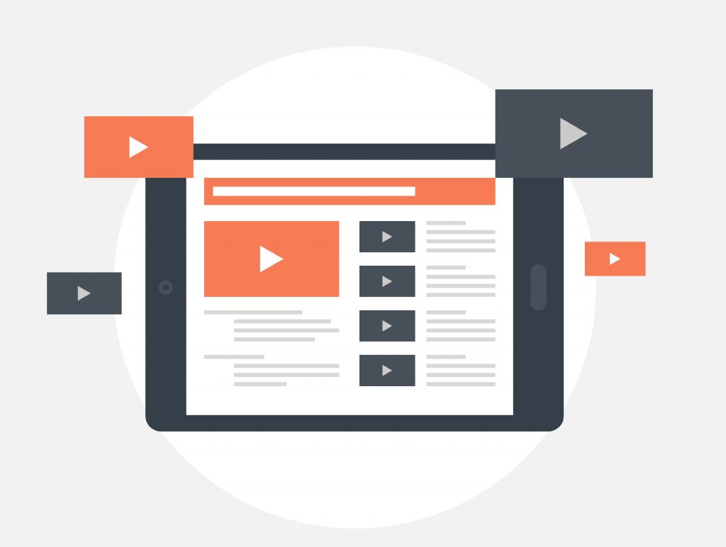 Vector illustration of video marketing flat design concept.