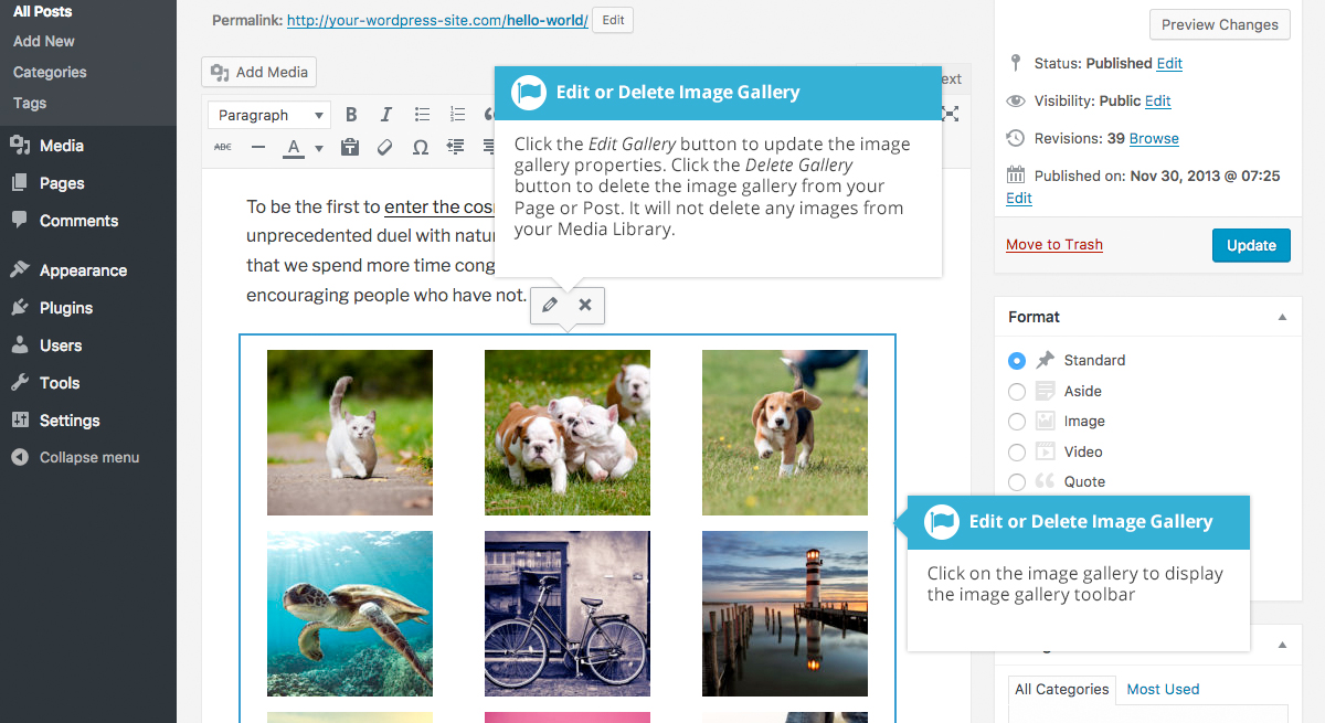 Edit or Delete an Image Gallery