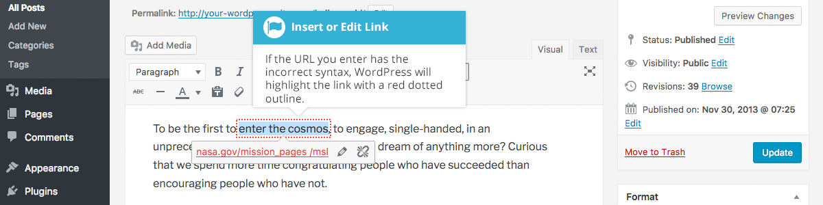Inserting an HTML Link